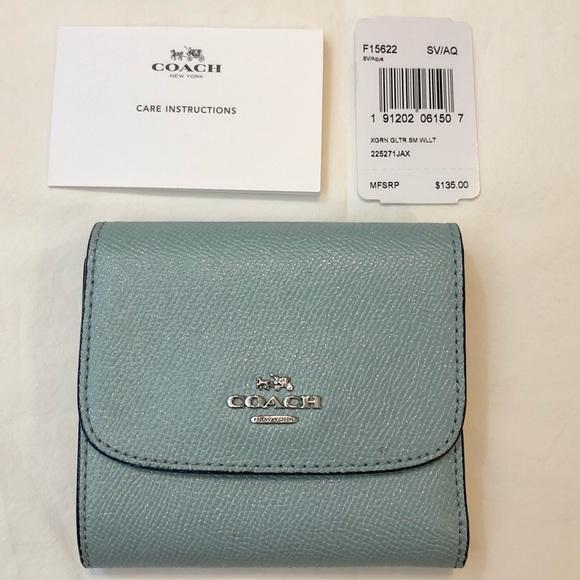 Coach Handbags - Coach Small Wallet Glitter Leather Aqua Trifold